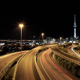 Auckland Night Cityscape by Stephen Milner - City,  Street & Park  Skylines ( sony a7r pentax k 28mm f3.5 @ f16 stephen milner auckland night,  )