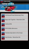 Screenshot of New York Mustangs Events Feed
