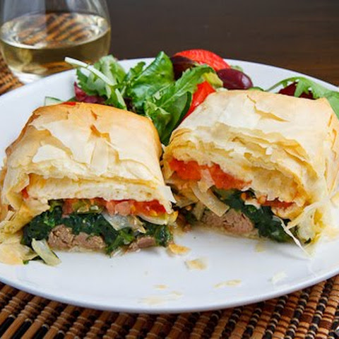Lamb Exohiko (Lamb, Spinach and Cheese Stuffed Phyllo Parcels)