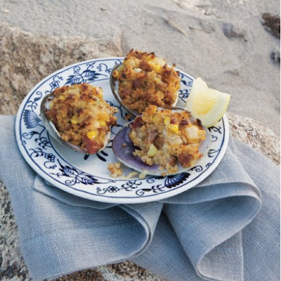 Stuffed Clams with Linguica and Corn