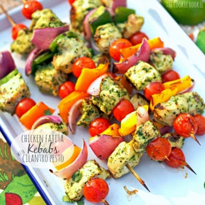 Chicken Fajita Kebabs with Cilantro Pesto