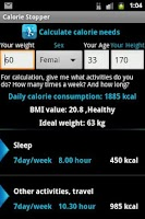 Screenshot of Calorie Stopper