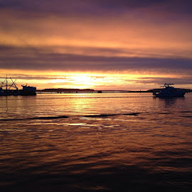 Beautiful sunset over the water. by Nicole Mize - Novices Only Landscapes ( water, washington, sunsets on the water, sunset, the northwest, ship, ocean, boat, places we live, dock )