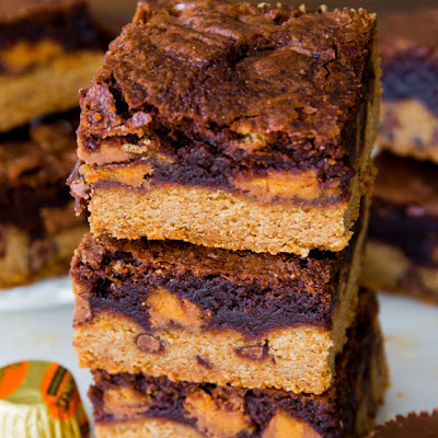 Fudge Brownie Peanut Butter Cup Cookie Bars