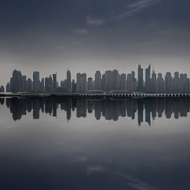 Reflecting Blocks by Scott Lorenzo - City,  Street & Park  Skylines ( dim, relfection, skyscrapers, dubai, buildings, skylines, tall, panorama, city )