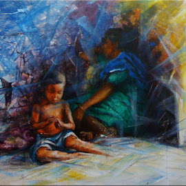 Take some rest MOM.... by Sowmen Chanda - Painting All Painting