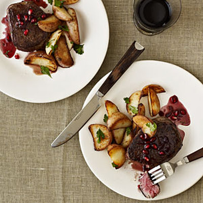 Beef Filets with Pomegranate-Pinot Sauce