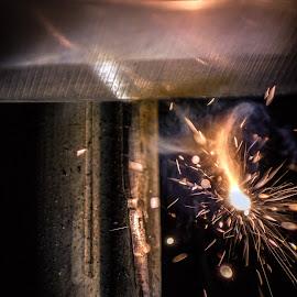 Flint and Steel  by Anderson Lindblom - Abstract Macro ( macro, spark, fire, flame, flint and steel )