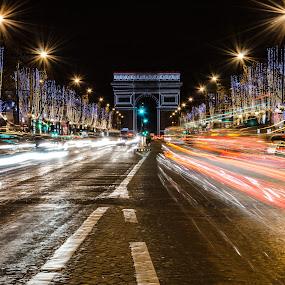 new year 2015 by Nesrine el Khatib - City,  Street & Park  Street Scenes ( arc de triomphe, , city at night, street at night, park at night, nightlife, night life, nighttime in the city )