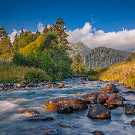 Dukka by Alexander Bakhur - Landscapes Waterscapes ( water, clouds, mountains, sky, stone, forest, landscape, river )