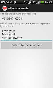 Affection sender - screenshot