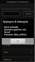 Screenshot of English Synonyms & Antonyms
