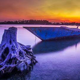 biru-biru by Tito Pradipta - Transportation Boats ( sunset, fisherman, boat )