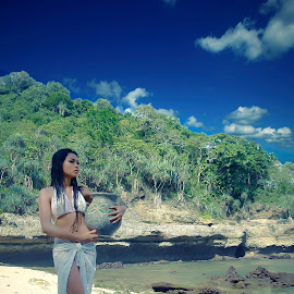 aquarius by Hill S - Digital Art People ( girl, indonesia, asia, fine art, beach )