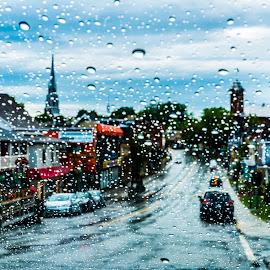 Rain in the winshield by Bertrand Lavoie - City,  Street & Park  Street Scenes ( rivière-du-loup, winshield, street, rain, québec )