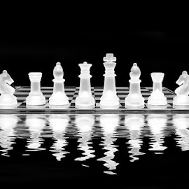 by Mario Borg - Artistic Objects Glass ( abstract, reflection, chess pieces, black and white, chess board )