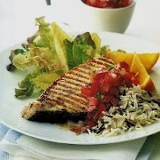 Griddled Halibut Steaks With Tomato And Red Pepper Salsa
