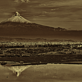 Volcano and reflection by Cristobal Garciaferro Rubio - Landscapes Mountains & Hills