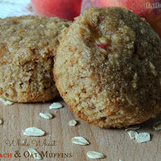 Whole Wheat Peach & Oat Muffins