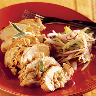Smoked-Cheddar-Stuffed Chicken with Green Apple Slaw