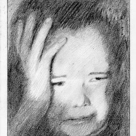holocaust child  by Magdalena Wysoczanska - Drawing All Drawing ( pencil, child, black and white, crying, drawing )