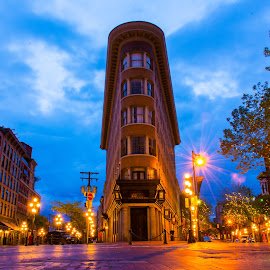 Where the Roads Meet by Stephanie Snow - Buildings & Architecture Other Exteriors ( lights, gastown, buildings, windows, streets, vancouver, roads )
