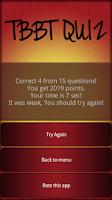 Screenshot of TBBT Quiz