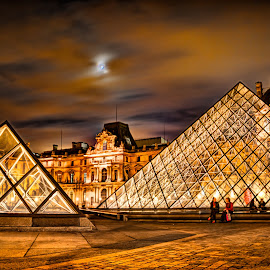 The Louvre by Moonlight by Steve Densley - Buildings & Architecture Public & Historical ( paris, hdr, architecture, museum, palace )