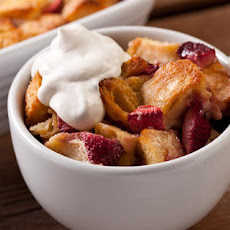 Strawberry Bread Pudding with Crème Fraîche Whipped Cream