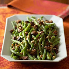 Snap Beans with Caramelized Shallots and Roasted Mushrooms