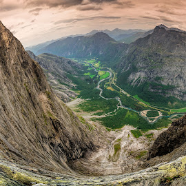 Troll's wall by Catalin Tibuleac Fotografie - Landscapes Mountains & Hills ( climbing, extreme, mountains, romsdalen, valleys, sunset, mountainscape, streams, landscape, trollstigen, trollveggen, norway,  )