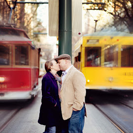 Trolly Kiss by Nikki Morrow - People Couples ( kiss, memphis, trolly, engagement, couples,  )