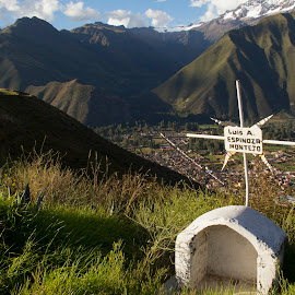 Roadside Memorial by Janet Marsh - City,  Street & Park  Vistas ( peru, luis,  )