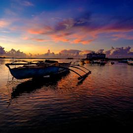 At Sunrise by Ferdinand Ludo - Transportation Boats ( early dawn, calm sea, cordoba, mactan island, fishing boat )