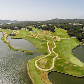 Aerial View of Golf Course in Austin, TX by Marc Mulkey - Sports & Fitness Golf ( water, course, colorado, golf, aerial, view, river )