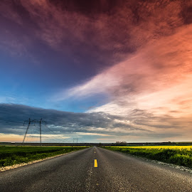 colors by Lupu Radu - Landscapes Travel ( field, sunset, road )