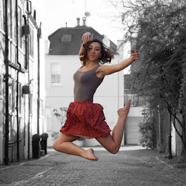 The Dancer by Alex Hamel - People Musicians & Entertainers ( black and white/colour combination, ballet, dance, girl jumping )