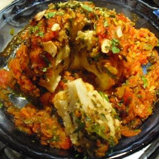 Indian Spiced Roasted Whole Cauliflower with Tomato, Ginger and Coriander