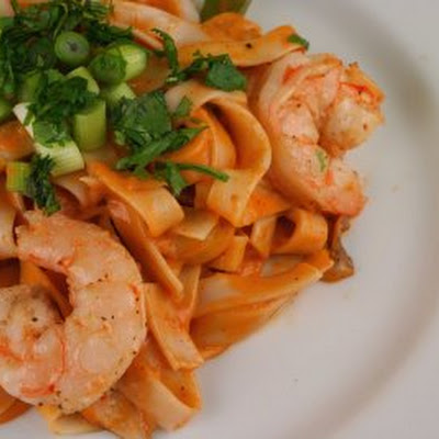 Curried Pasta with Shrimp, Snap Peas, and Shiitakes