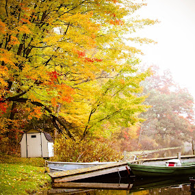 Private fishing spot by Christine Weaver-Cimala - Landscapes Waterscapes ( michigan, reflection, color, fog, fall, trees, lake, boat, waterscapes, dock )