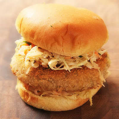 Crispy Fried Chickpea Cake and Slaw Sandwiches