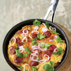 Potato & Chorizo Omelette With A Kinda Parsley Salad