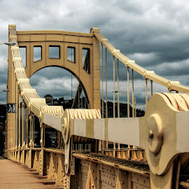 Pittsburgh Bridge 02 by Raymond Pauly - Buildings & Architecture Bridges & Suspended Structures ( clouds, pittsburgh, metal, road, yellow, bridge, philadelphia, suspended )