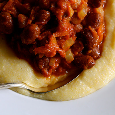 Borlotti Beans In Tomato Sauce With Creamy Polenta Recipe — Dishmaps