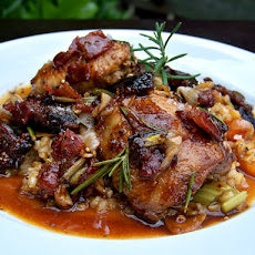 Pan-roasted Quail with Black Fig/Bacon Demi-glace over Piccolo ...