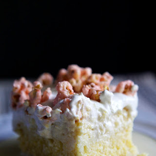 Tres Leches Cornbread Cake with White Chocolate Cherry Popcorn