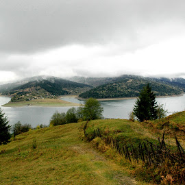 Autum Mountains by Prodan Marius - Landscapes Mountains & Hills ( fence, foggy, mountain, trees, lake, forest )