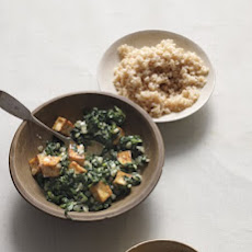 Spiced Tofu with Wilted Spinach and Yogurt