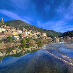 Roquebrun in Winter by Paul Atkinson - Landscapes Travel ( languedoc, winter, village, nature, orb, roquebrun, france, landscape, rural, river, herault )