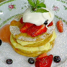 Mille Feuille of Benne Wafers and Pineapple Pastry Cream with Macerated Berries